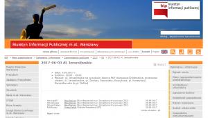 Informacja o trasie na stronie m.st. Warszawy